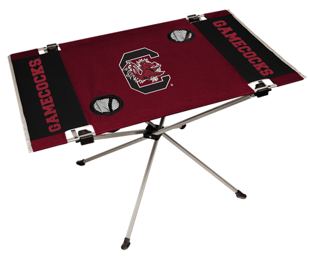 NCAA South Carolina Gamecocks Endzone table printed in team colors with logos and features two cup holders