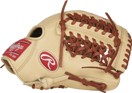 Thumb view of a PRO205-4CT Heart of the Hide 11.75-inch infield/pitcher's glove with a camel Modified Trap-Eze web