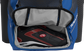 A royal Rawlings baseball backpack with a cleat in the bottom cleat storage compartment - SKU: IMPSLE-R image number null