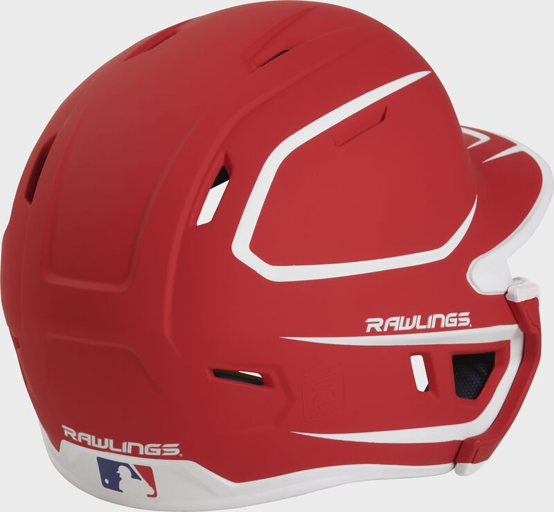Back right of a two-tone matte scarlet/white MACHEXTR Rawlings junior size batting helmet