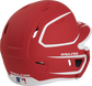 Back right of a two-tone matte scarlet/white MACHEXTR Rawlings junior size batting helmet image number null