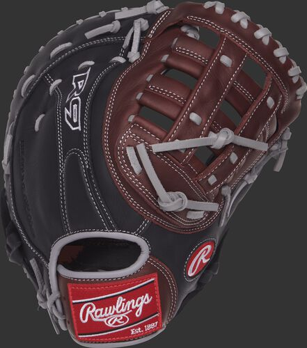 R9FM18BGS 12.5-inch R9 series first base mitt with a black back and dark sherry trim