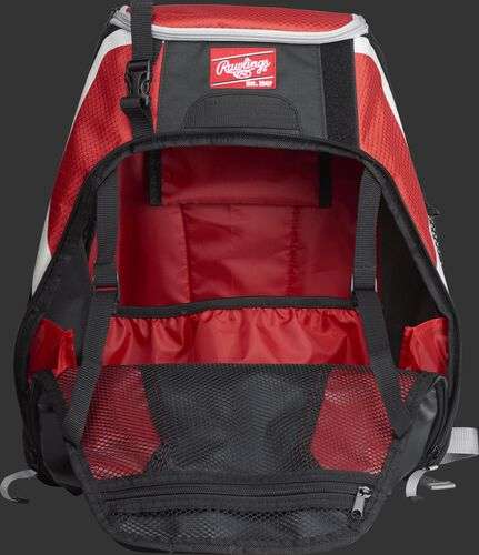 An open R500 Rawlings Players equipment backpack with scarlet interior