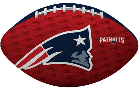 Red side of a NFL New England Patriots Gridiron football with the team logo