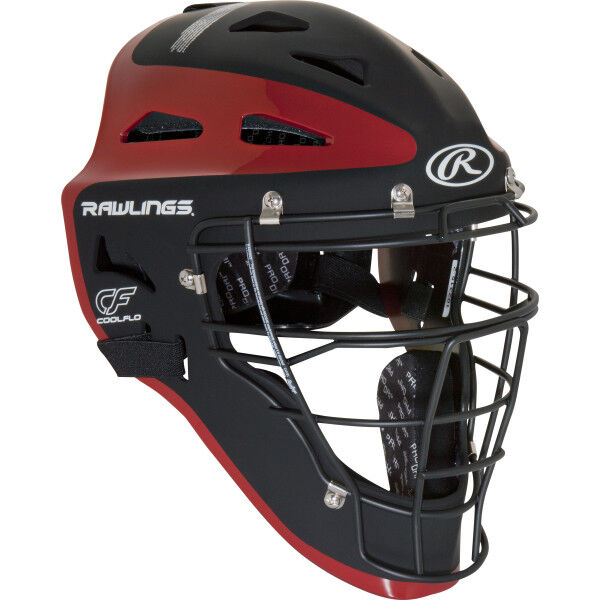Velo Adult Catchers Helmet Black/Scarlet