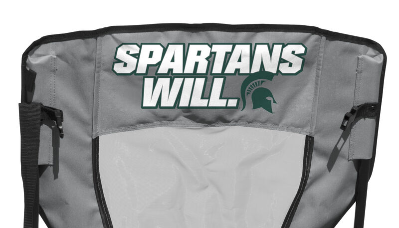 "Back of Rawlings Green and Grey NCAA Michigan State Spartans High Back Chair With ""Spartans Will"" SKU #09403038518"