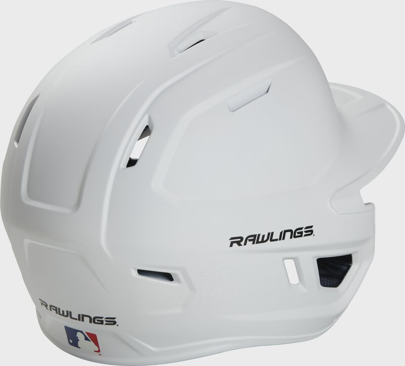 Back right of a matte white MACHEXTR Rawlings junior size batting helmet