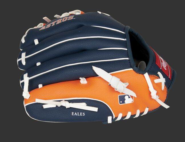 Navy/orange back of a Rawlings Houston Astros glove with the MLB logo on the pinky - SKU: 22000002111