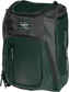 Front angle of a dark green Franchise backpack with gray accents and dark green Rawlings patch logo - SKU: FRANBP-DG image number null