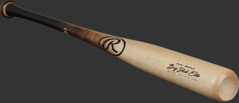 Angled view of a natural colored Big Stick Elite Maple bat with a cupped end - SKU: 243RMF
