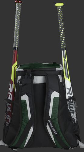 Back of a black/dark green R500 team backpack with two bats in the side sleeves