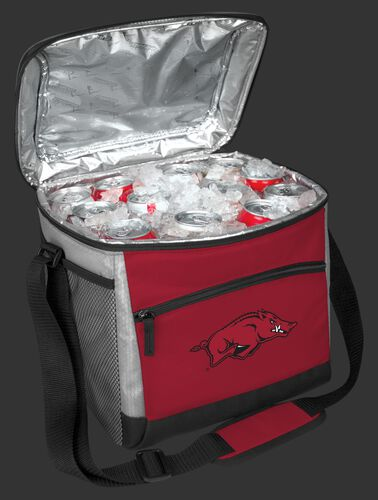 An open Arkansas Razorbacks 24 can cooler filled with ice and drinks - SKU: 10223069111
