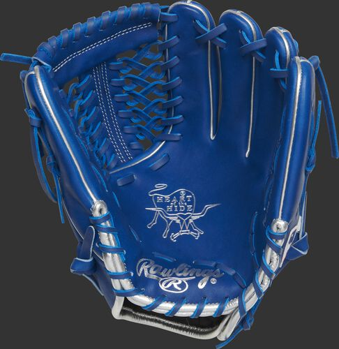 Palm of a royal Rawlings Marcus Stroman glove with royal laces and silver stamping - SKU: PRO205-MS0