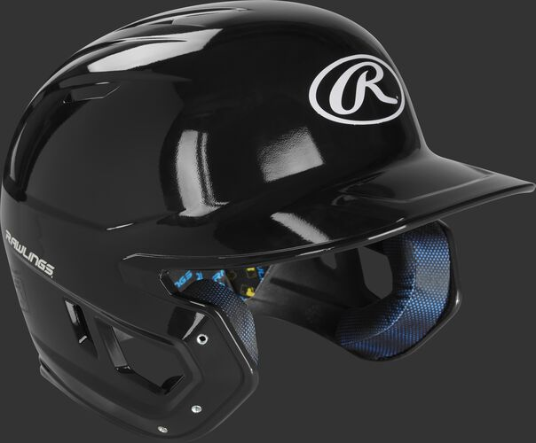Right angle view of a MCC01 Rawlings Mach helmet with a gloss black shell