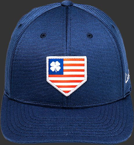 Front of a navy Rawlings Black Clover All Star fitted hat with a red, white and blue home plate logo - SKU: BCR1ASN0071