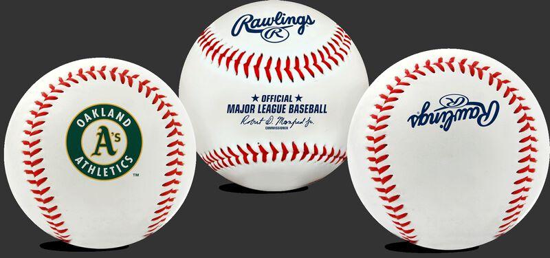 3 views of a MLB Oakland Athletics baseball