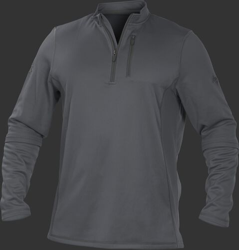 TECH2 Grey Rawlings quarter-zip fleece pullover with graphite chest pocket zipper