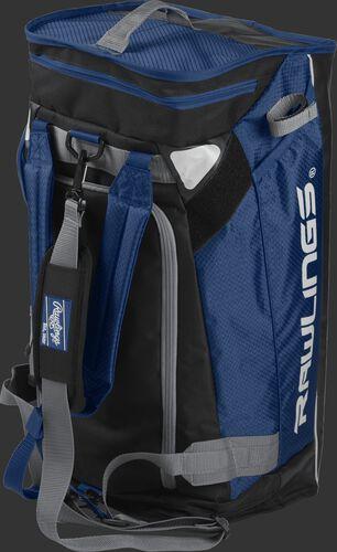 A navy R601 Rawlings hybrid duffel bag stood up like a backpack