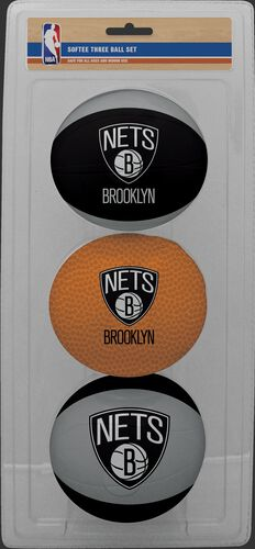 Rawlings Black, Brown, and Grey NBA Brooklyn Nets Three-Point Softee Basketball Set With Team Logo SKU #03524194114