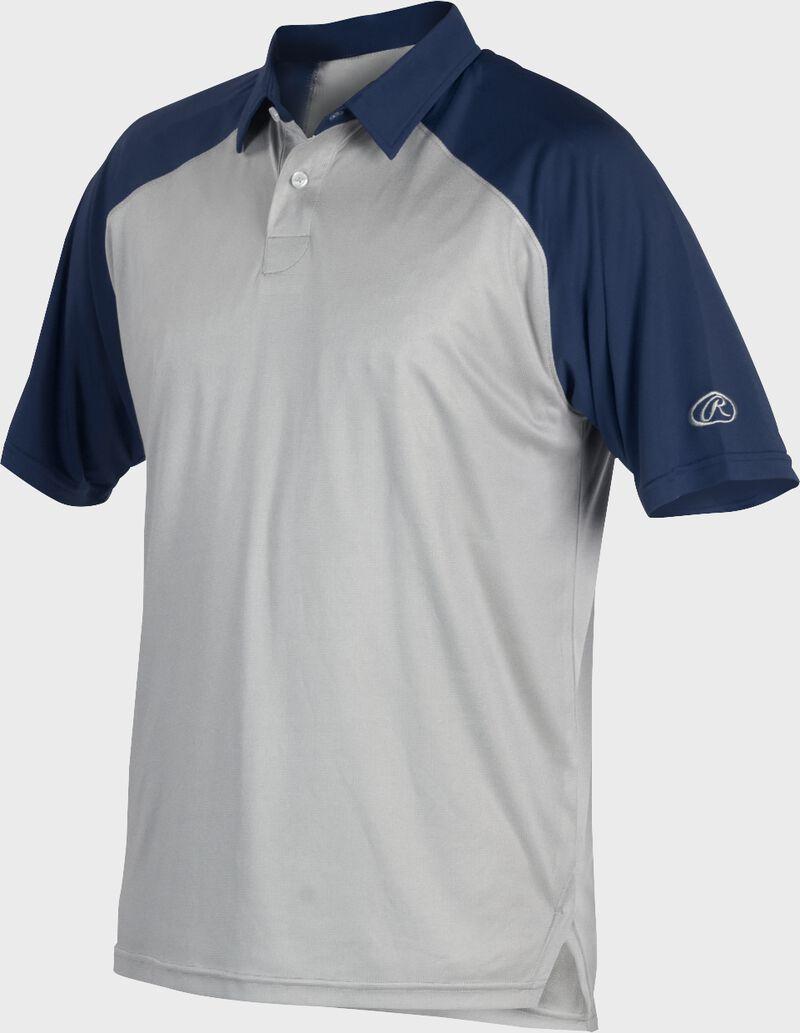 A gray Rawlings colorsync polo with navy sleeves - SKU: CSP-BG/N