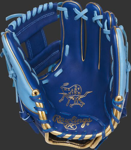 Royal palm of a Rawlings Heart of the Hide infield glove with a gold palm stamp and columbia blue laces - SKU: PRO204W-2R