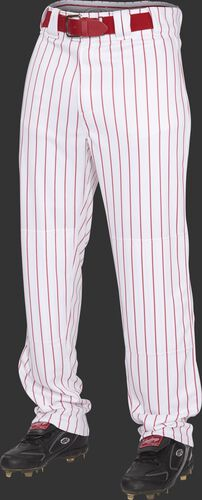 Front of Rawlings Scarlet Youth Semi-Relaxed Pinstripe Pant - SKU #YPIN150