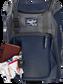 Wallet, keys, and batting gloves in the front valuables pocket of a navy Franchise baseball bag - SKU: FRANBP-N image number null