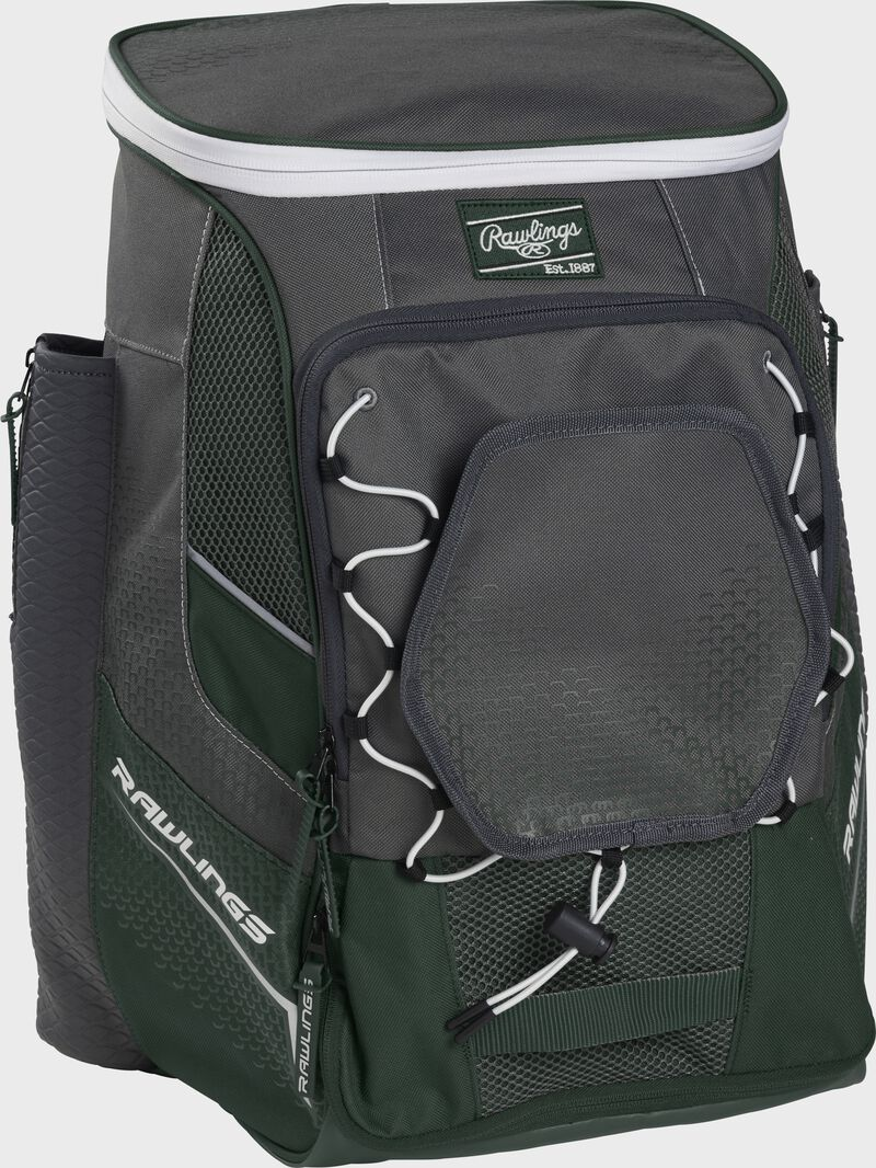 Front left angle of a dark green Rawlings Impulse bag with gray accents - SKU: IMPLSE-DG