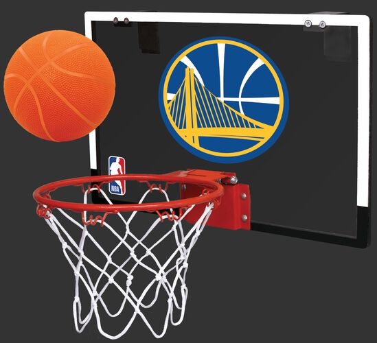 Rawlings Blue and Gold NBA Golden State Warriors Game On Hoop Set with Team Logo On Backboard SKU #00664218111