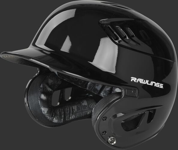 Left angle view of a R1601 gloss Velo helmet with a black clear coat shell