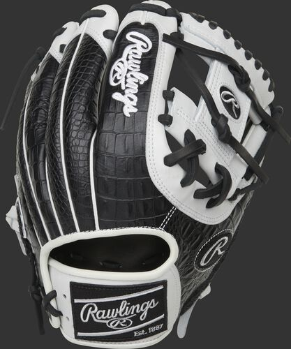 A Heart of the Hide R2G 11.5-Inch I-web glove with a black croc embossed leather back - SKU: PROR204-2BCW
