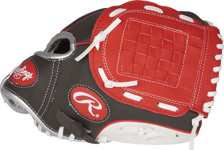 PL10DSSW Players Series 10-inch tee ball glove with a dark shadow thumb, white trim and scarlet Basket web