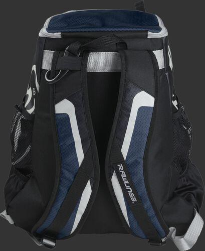 Back of black/navy R500 Players team backpack with black/navy shoulder straps