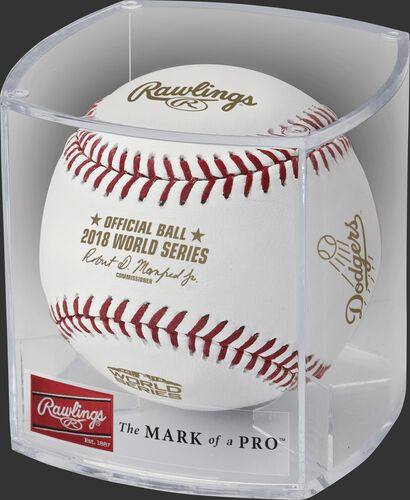 The WSBB18DL World Series dueling teams baseball in clear display cube