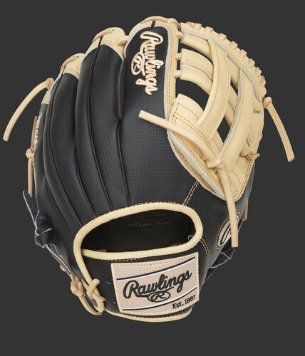 Black Speed Shell back of a Heart of the Hide H-web glove with a camel Rawlings patch - SKU: PRO206-6CBSS
