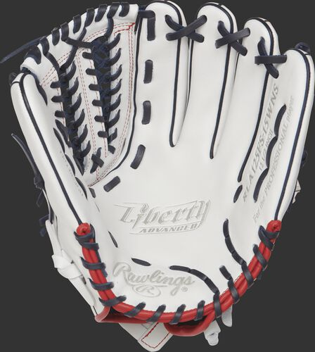RLA125FS-15WNS Rawlings 12.5-inch softball outfield/pitcher's glove with a white palm and navy laces