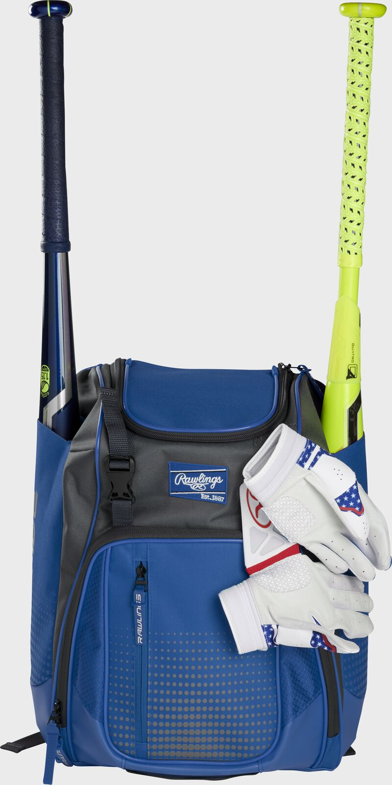 A royal Franchise backpack with two bats in the sides and batting gloves on the front Velcro strap - SKU: FRANBP-R