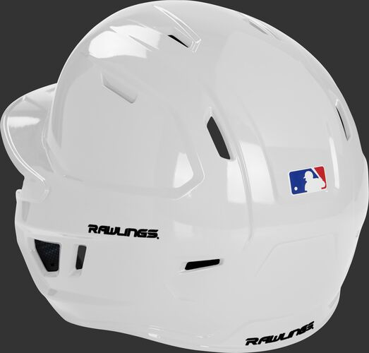 Back left of a white MCH01A high school Mach helmet with air ventilation holes up the back