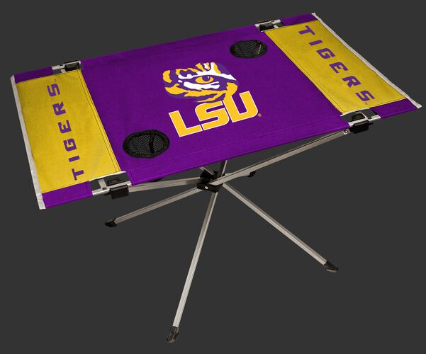 NCAA LSU Tigers Endzone tailgate table in team colors with a logo printed in the middle and two cup holders SKU #04053035111