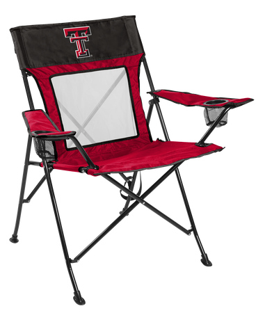 A red/black NCAA Texas Tech Red Raiders Game Changer chair with a team logo on the back