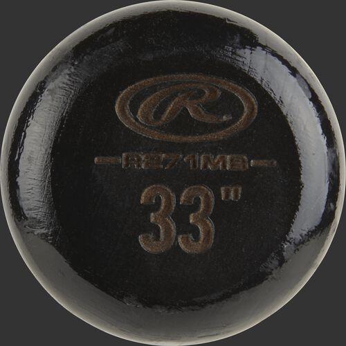 Black knob of a R271MB Rawlings wood bat