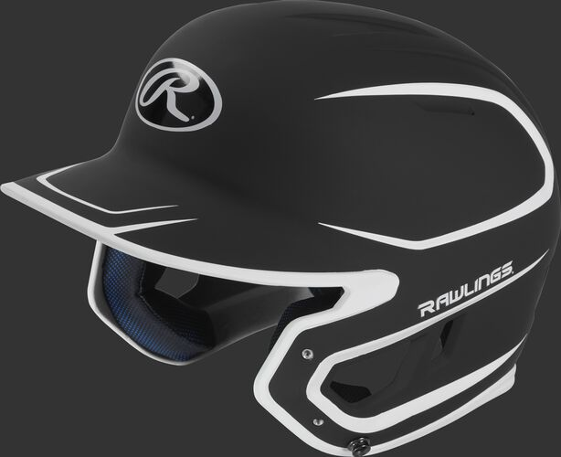 Left angle view of a Rawlings MACH Senior helmet with a two-tone matte black/white shell