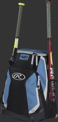 Left side of a black/columbia blue R500 baseball backpack with a red bat in the side sleeve