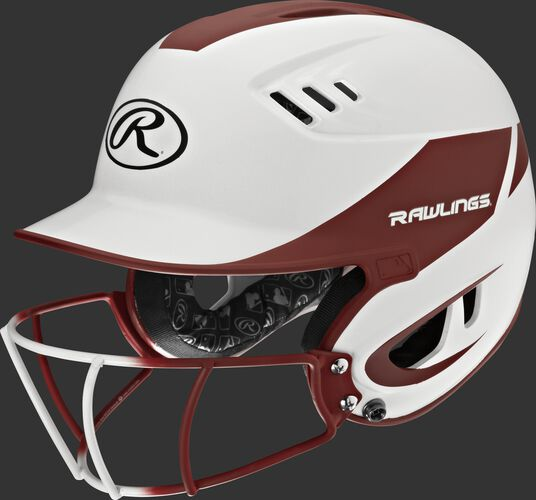 A white/cardinal R16H2FGS Velo junior batting helmet with a white/cardinal facemask