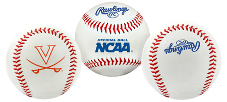 3 views of a NCAA Virginia Cavaliers baseball with a team logo, NCAA logo and Rawlings logo