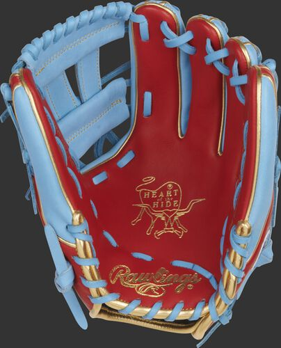 Scarlet palm of a Rawlings Gameday 57 Series Kolten Wong infield glove with gold stamping and columbia blue laces - SKU: RSGPRO314-7SCB