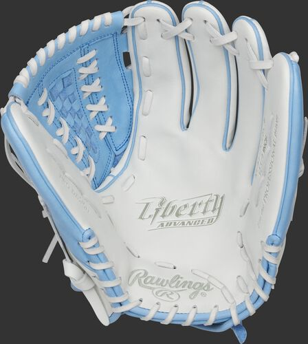 RLA125-18CB Rawlings Liberty Advanced Color Series glove with a white palm and white laces