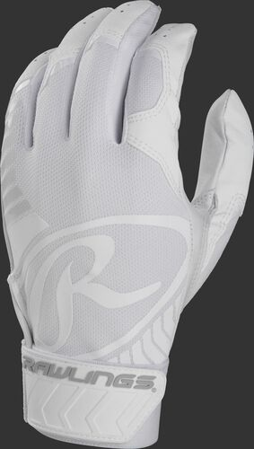Back of a white adult 5150 batting glove with a large white oval-R across the back of the palm - SKU: BR51BG-W