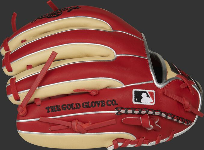 Pinkie side of a HOH R2G infield glove with hand sewn welting and the MLB logo - SKU: PROR314-2SC