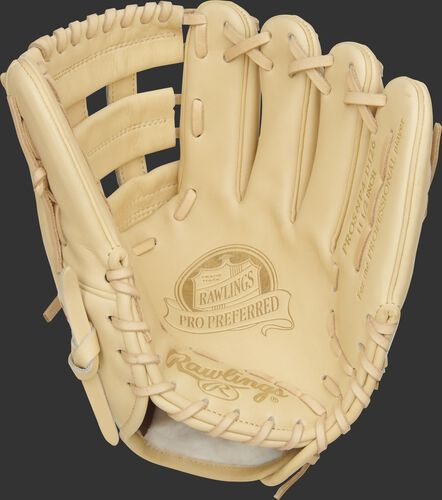 Camel palm of a DJ LeMahieu Pro Preferred glove with a camel web and laces - SKU: PROSNP4-DJ26